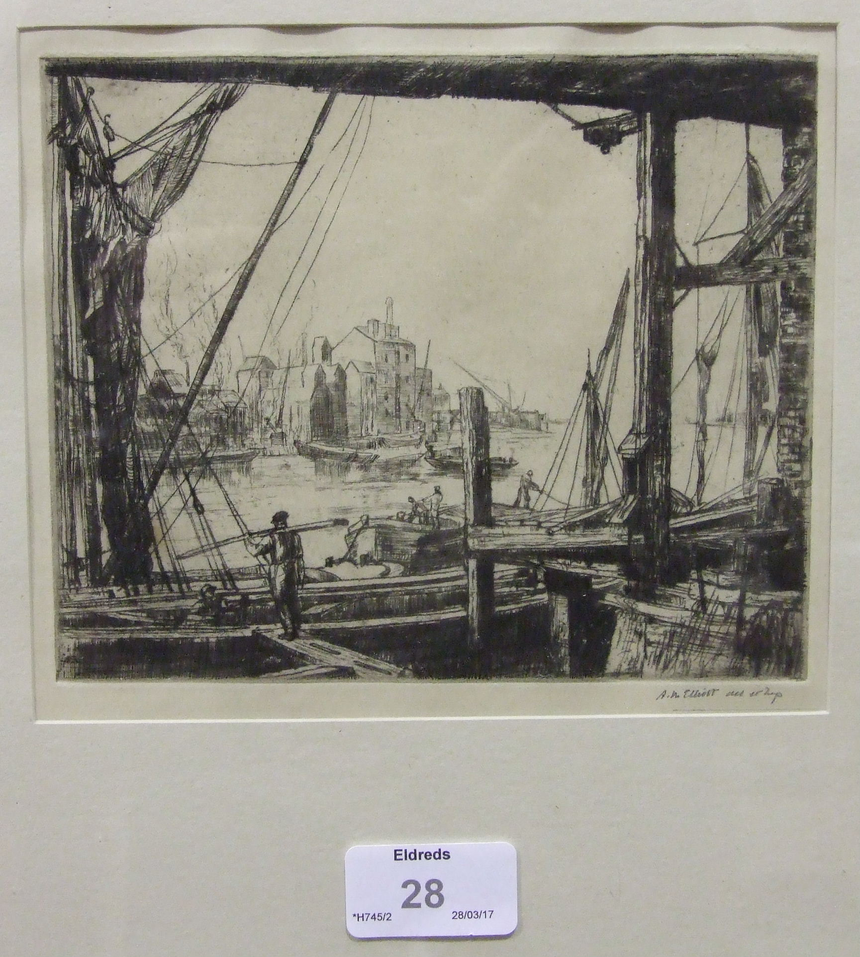 """Lot 28 - After Miss A M Elliot A collection of five signed engravings:""""Britannia in Her Prime"""" 20 x 30."""
