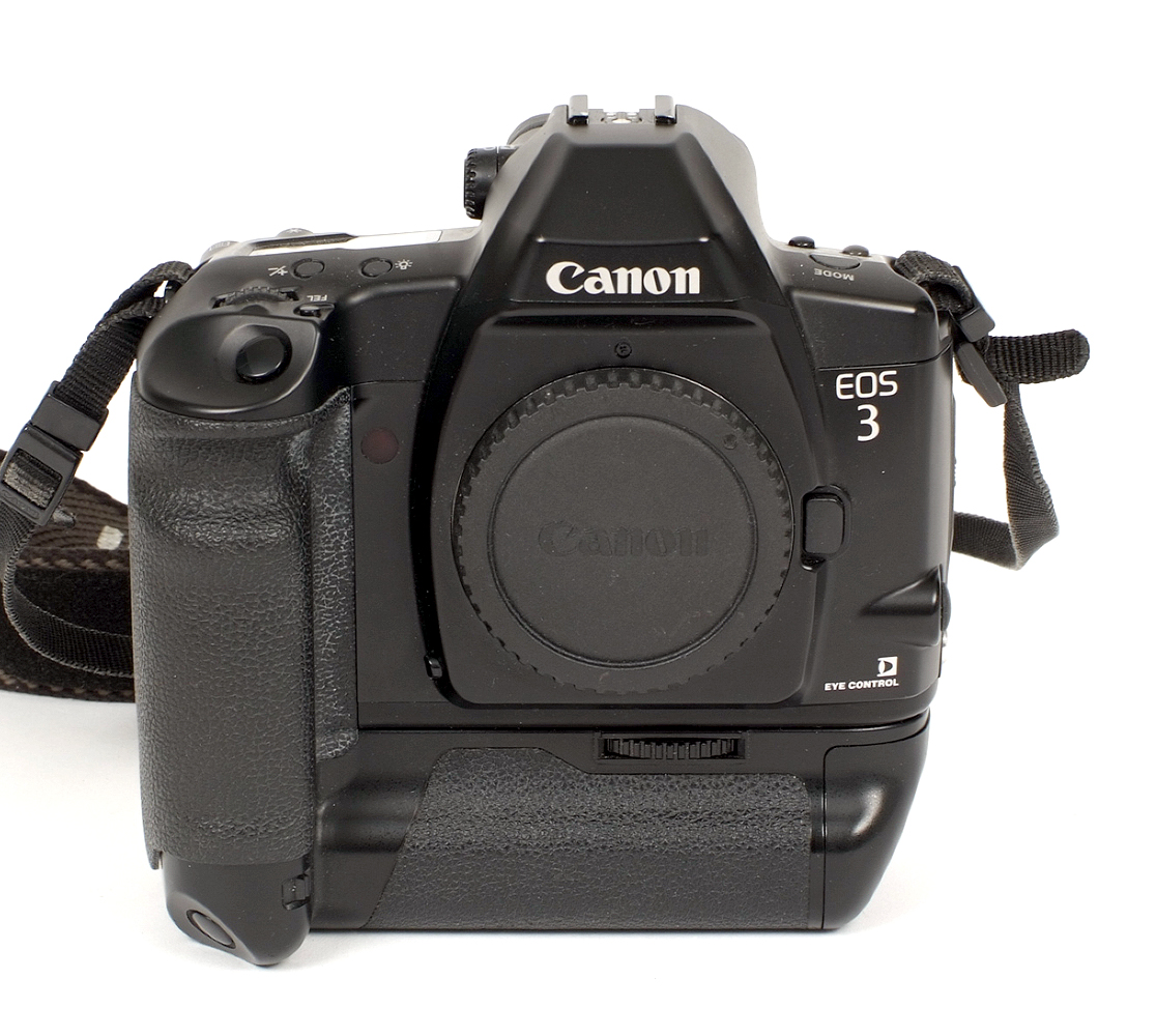 Lot 13 - Canon EOS3 AF Film Camera. #2728206 (condition 5F) with Canon Power Drive Booster E1.