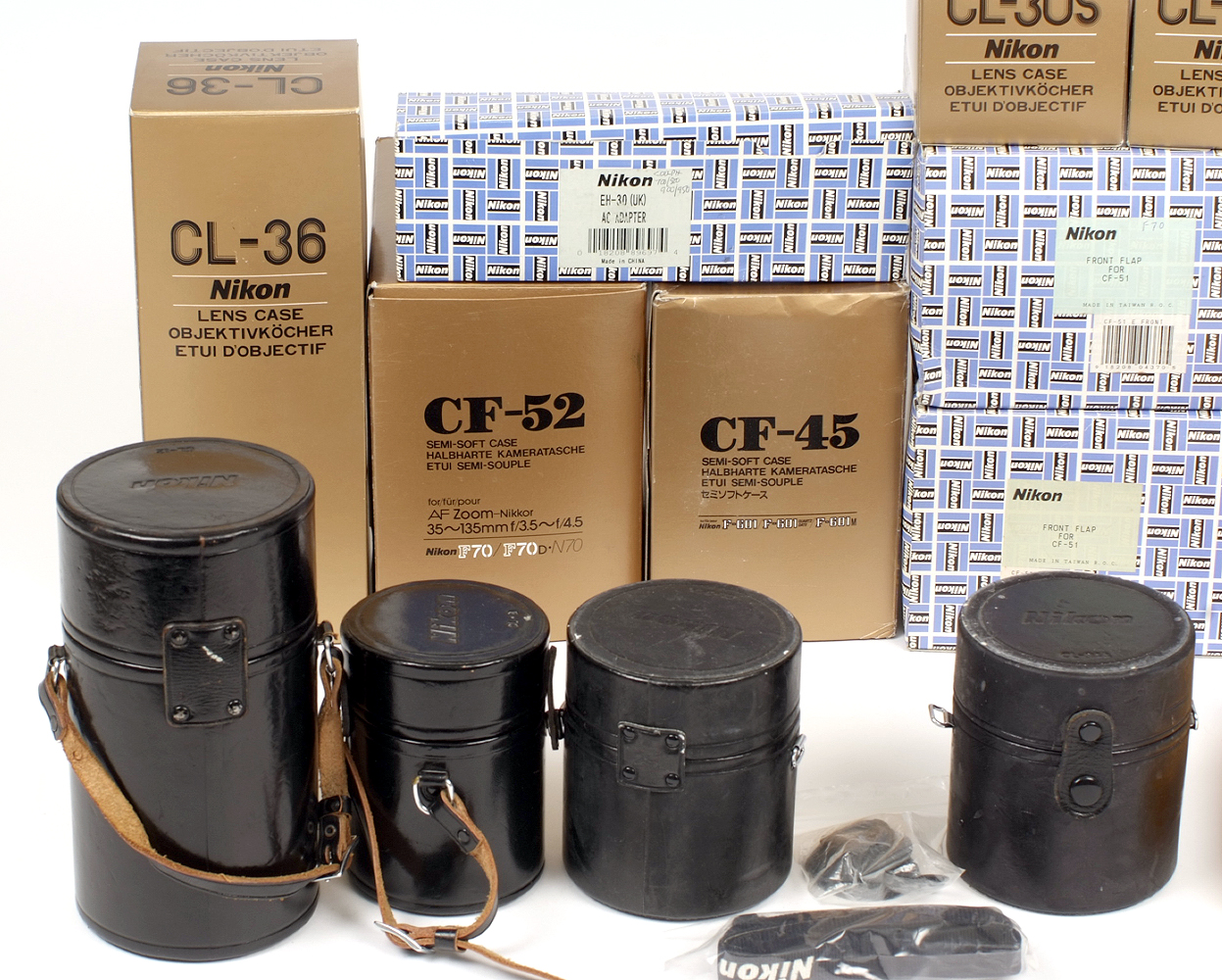 Lot 41A - Large Quantity of Nikon Lens & Camera Cases. Several new and in makers boxes.