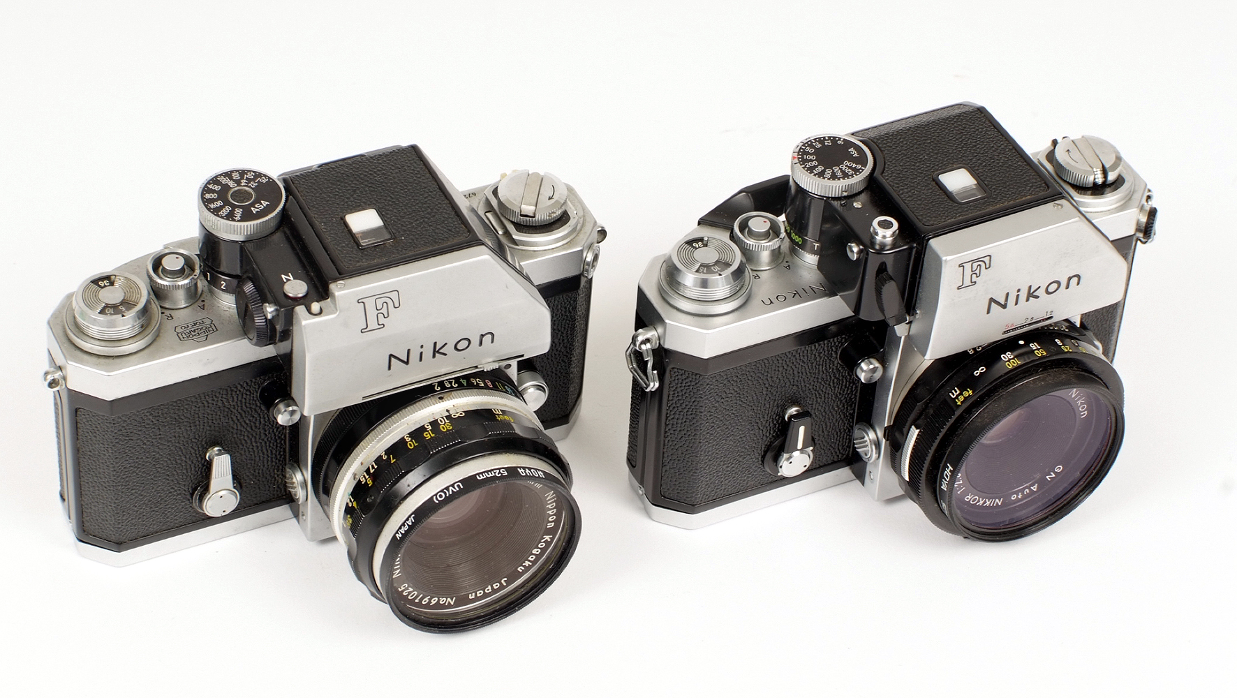 Lot 16 - Two Nikon F Cameras. #7382899 with Photomic head and uncommon G (Guide Number) Nikkor 45mm f2.