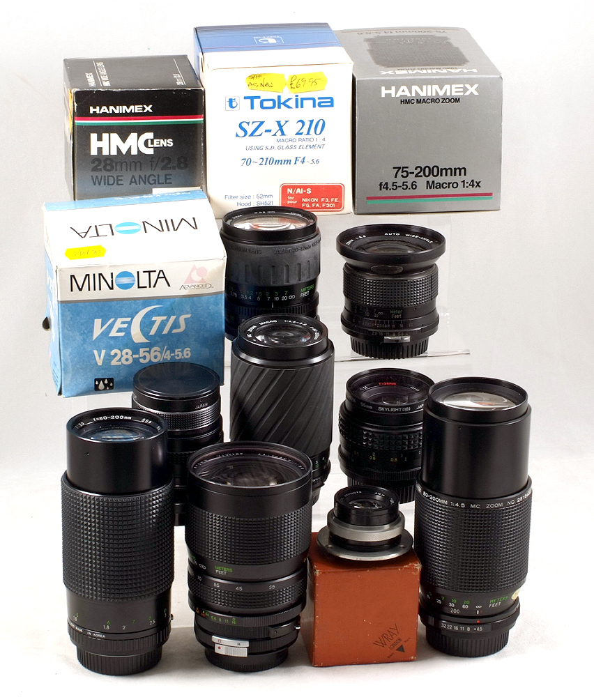 Lot 2 - Interesting Collection of various fit camera lenses. To include Vivitar 35-105mm f3.