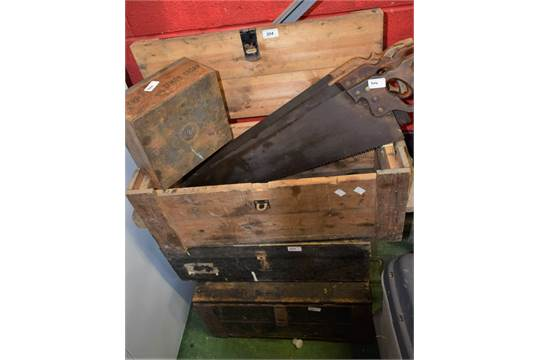 Three pine tool boxes and tools including Max Sievert blow