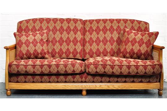 Modern Three Seater Ercol Bergere Suite Diamond Decorated Upholstery