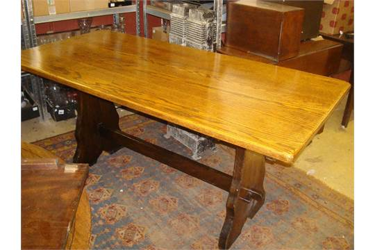 Superbe A Mid 20th Century Webber Furniture Croydon Range Oak Refectory Table, On  Trestle Base. 168cm Lon