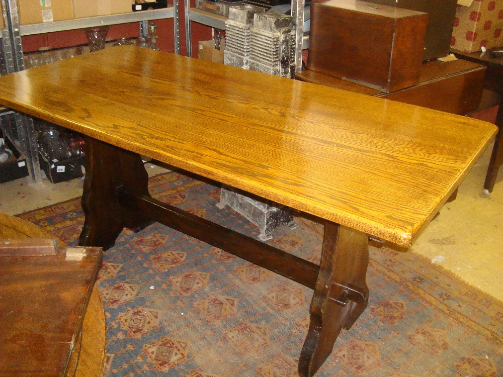 Superb Lot 53   A Mid 20th Century Webber Furniture Croydon Range Oak Refectory  Table, On