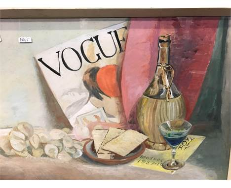 STILL LIFE PAINTING OF A CARAFE, GLASS AND OTHER ITEMS ON A TABLE, SIGNED