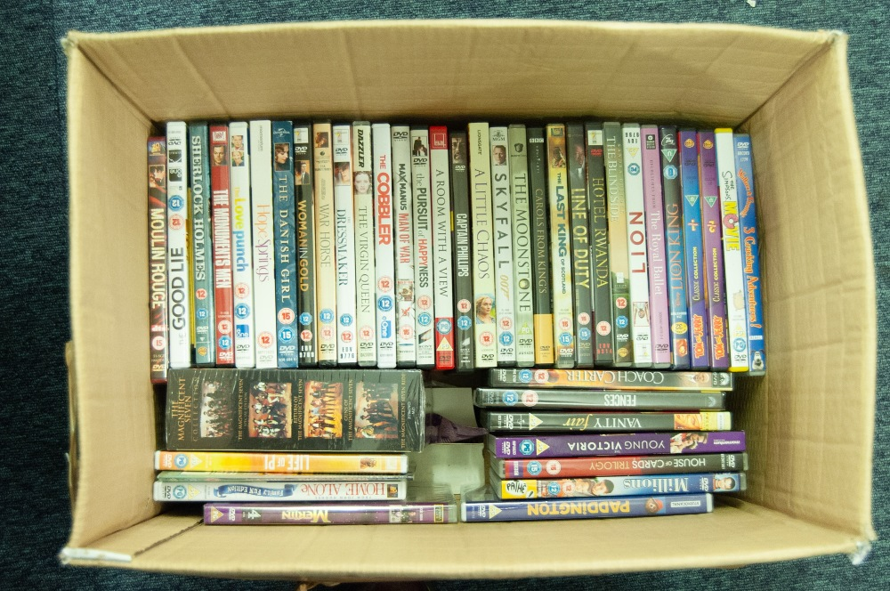 Lot 506 - ONE BOX OF VARIOUS DVD's, BOXED SET OF THE 'MAGNIFICENT SEVEN' AND 41 OTHERS