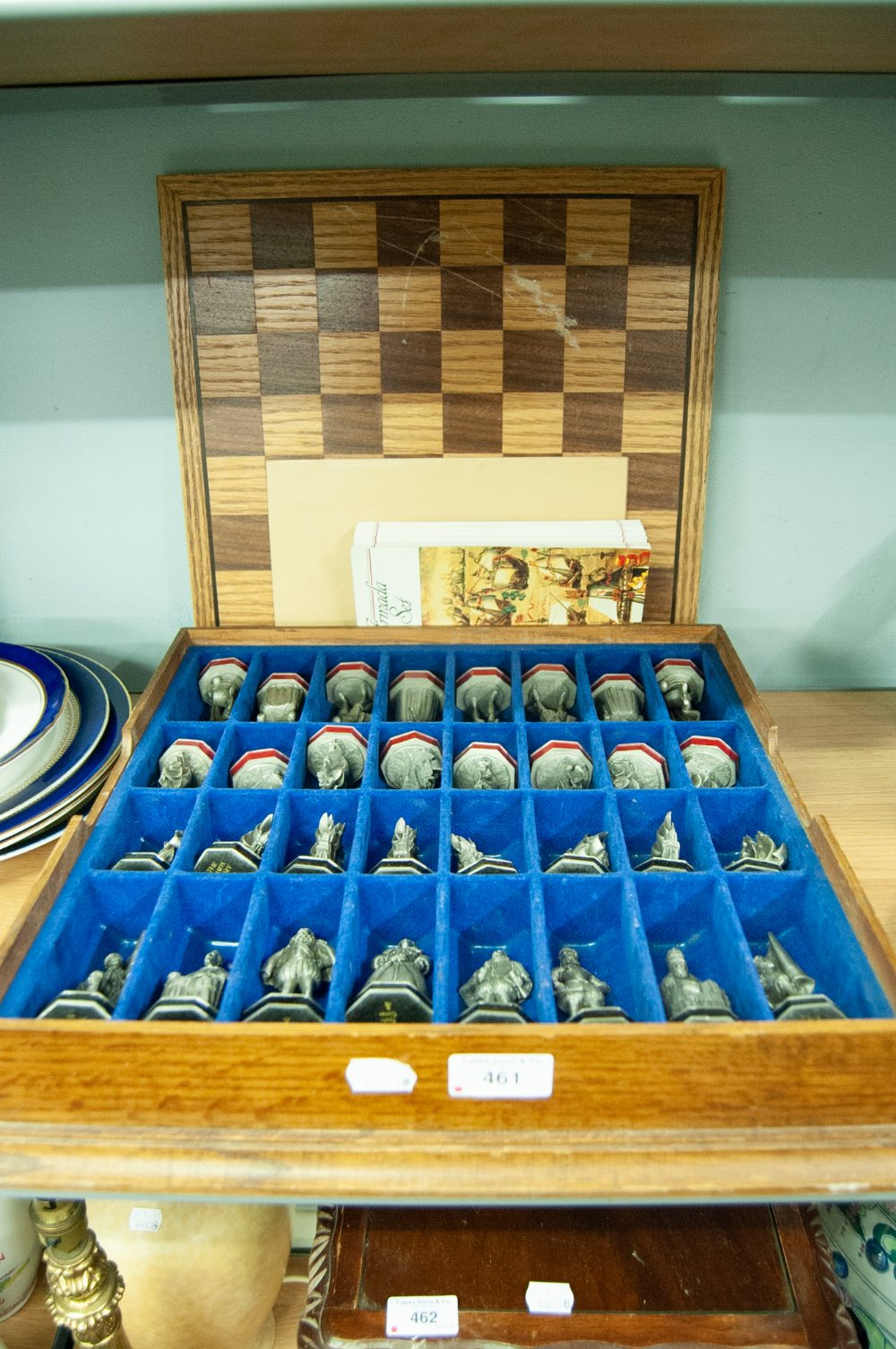 Lot 461 - 'THE ARMADA' CHESS SET BY DANBURY MINT, 32 PIECES IN PEWTER HOUSED IN A FITTED BOARD WITH