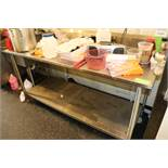 Stainless steel 6' prep table with backsplash and under shelf