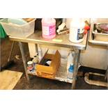 3' stainless steel work table with under shelf, no contents