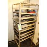 Tray rack on casters and sheet pan rack with contents