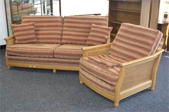 An Ercol Bergere Range 16032flt Light Oak Two Seat Sofa With