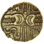 Wonersh Left. Sills dies 1/1. c.55-45 BC. Celtic gold quarter stater. 10mm. 1.14g.