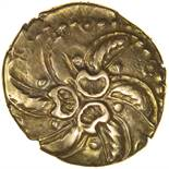 Addedomaros Spiral. Sills class 3. c.45-25 BC. Celtic gold stater. 19mm. 5.56g.