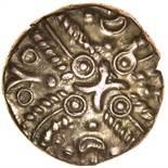 Tasciovanos Hidden Faces. Sills class 1b, dies 9/11. c.25BC-AD10. Gold stater. 16mm. 5.48g.