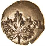 Verica Vine Leaf. Leaping Horse. Sills class 5c. c.AD 10-40. Celtic gold stater. 16mm. 5.33g.
