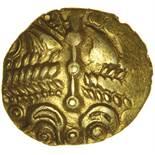Rowntree Fern Leaf. c.55-45 BC. Celtic gold quarter stater. 11-13mm. 1.29g.