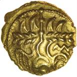 Gallo-Belgic Serpent. West of R.Somme. c.60-55 BC. Celtic gold quarter stater. 12mm. 1.44g.