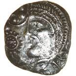 Mossop Proto Head. Diamonds and Fire Type. c.50-40 BC. Celtic silver unit. 16mm. 1.37g.