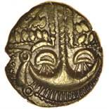 Cheriton Smiler. Eyelash Type. c.55-45 BC. Celtic gold stater. 16-18mm. 5.17g.