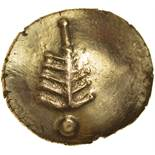 Corio Tree. Tiny Cross Type. c.20BC-5AD. Celtic gold stater. 18mm. 5.55g.