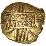 Tasciovanos Tascio Ricon with Dotted O. c.20BC-AD10. Celtic gold stater. 17-19mm. 5.41g.