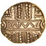 Cunobelinus Biga. Flatter Panel/Fatter Horse Type. c.AD8-41. Celtic gold stater. 17mm. 5.52g.
