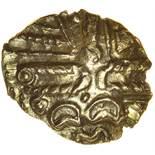 Billericay Cogwheel. c.50-30 BC. Celtic gold quarter stater. 10-13mm. 1.11g.