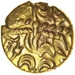 Tincomarus Alfriston. Sills class 2, dies 3/5. c.25BC-AD10. Celtic gold stater. 17mm. 5.37g.