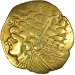 Broad Flan Left. Big Nose Type. Bellovaci. c.175-120 BC. Celtic gold stater. 25mm. 7.47g