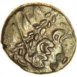 Clacton Original. c.60-55 BC. Celtic gold stater. 17-19mm. 6.21g.