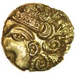 Selsey Diadem. Sills dies 2/3. c.55-50 BC. Celtic gold quarter stater. 10-12mm. 1.31g.