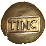 Tincomarus Warrior. Serif Type. c.25BC-AD10. Celtic gold stater. 17mm. 5.37g.