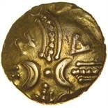 Andoco Crescent Wreath. c.20-1 BC. Celtic gold quarter stater. 11mm. 1.36g.