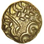 North East Coast. Right Type with Sun, Spiral & Star. c.60-50 BC. Celtic gold stater. 16mm. 5.93g.
