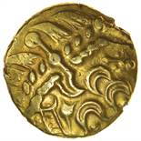 Selsey Two Faced. No Bars Type. c.55-45 BC. Celtic gold stater. 18mm. 6.08g.