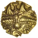 Sunburst Little Horse. c.20BC-AD5? Celtic gold quarter stater. 12mm. 1.27g.