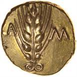 Cunobelinus Classic B, Left Type. c.AD42-43. Celtic gold stater.17mm. 5.48g.