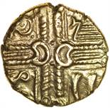 Westbury (formerly Middle Whaddon Chase). c.55-45 BC. Celtic gold stater. 17mm. 5.55g.