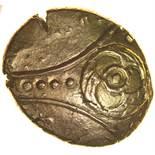 Freckenham Flower Tripartite. c.10BC-AD5. Celtic gold stater. 15-18mm. 5.73g.