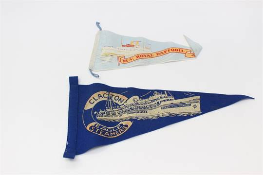 Shipping memorabilia including pennants, crockery Elders and Fyffrs