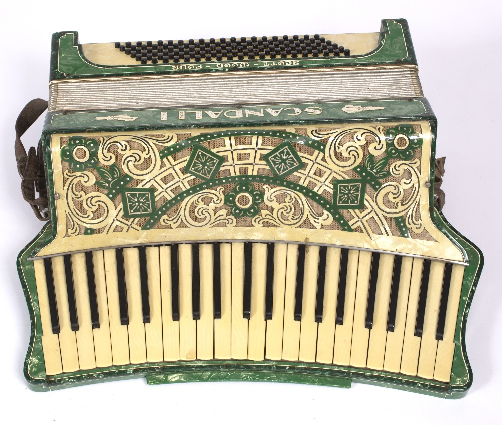 A 1930'S ITALIAN SCANDALLI SCOTT WOOD FOUR VINTAGE ACCORDION with curved  keyboard and green decor