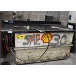 """61""""X32.5""""X35""""H OIL/LUBRICANT STORAGE TANK WITH 1100L CAPACITY, CAV PNEUMATIC PUMP AND LUBE WORKS"""