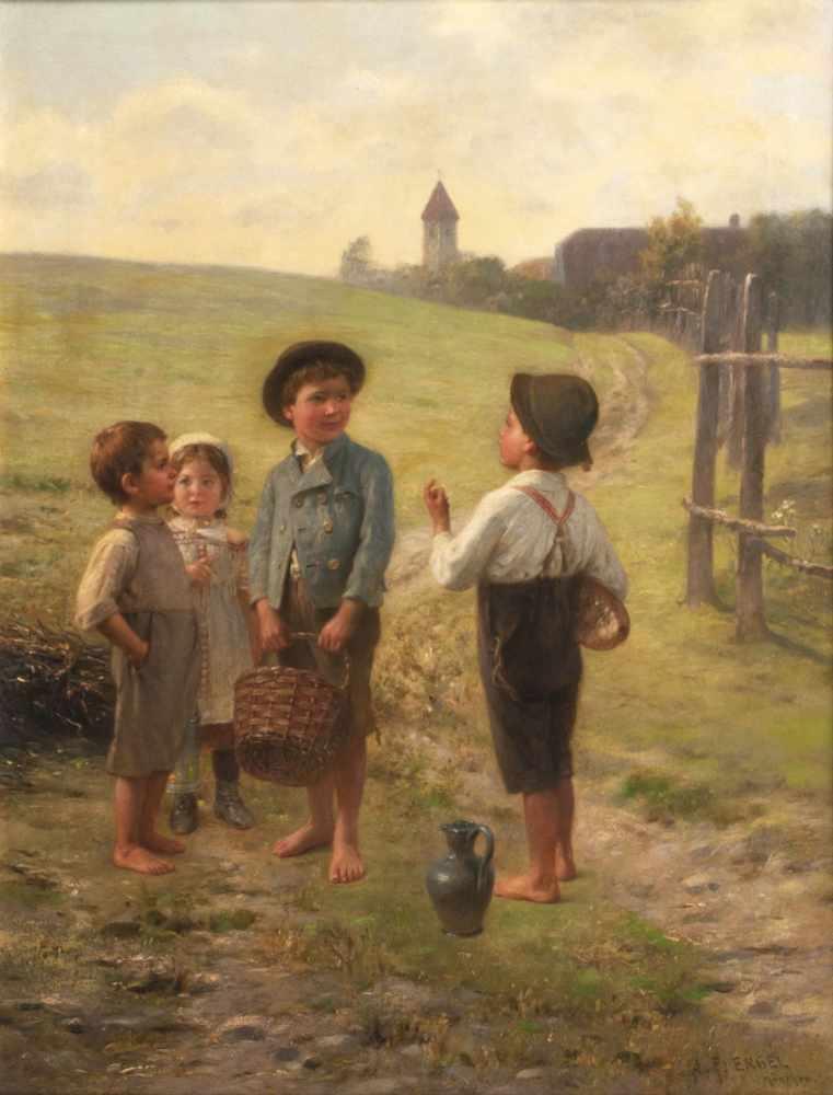 Lot 35 - Johann Friedrich Engel (Bernkastel-Kues 1844 - München 1921) Auf dem Heimweg Öl/Lw., 69,5 x 52,5 cm,