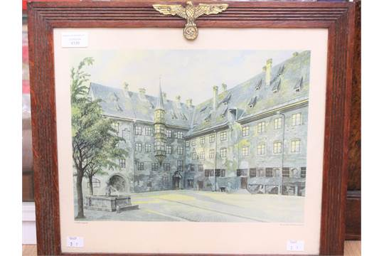 Reproduction Adolf Hitler watercolour print. Framed with