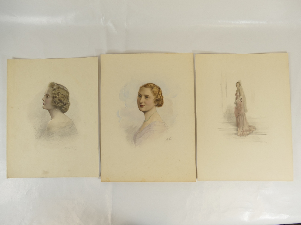 Lot 35 - Three HAND COLOURED LAFAYETTE PHOTOGRAPHS of ladies, 39 x 29cm with no discernible margin / mount.