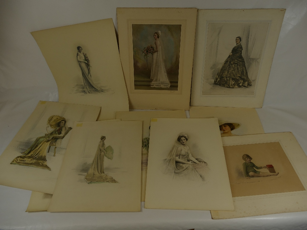 Lot 34 - Ten HAND COLOURED LAFAYETTE PHOTOGRAPHS of ladies, including Miss Sidebottom.