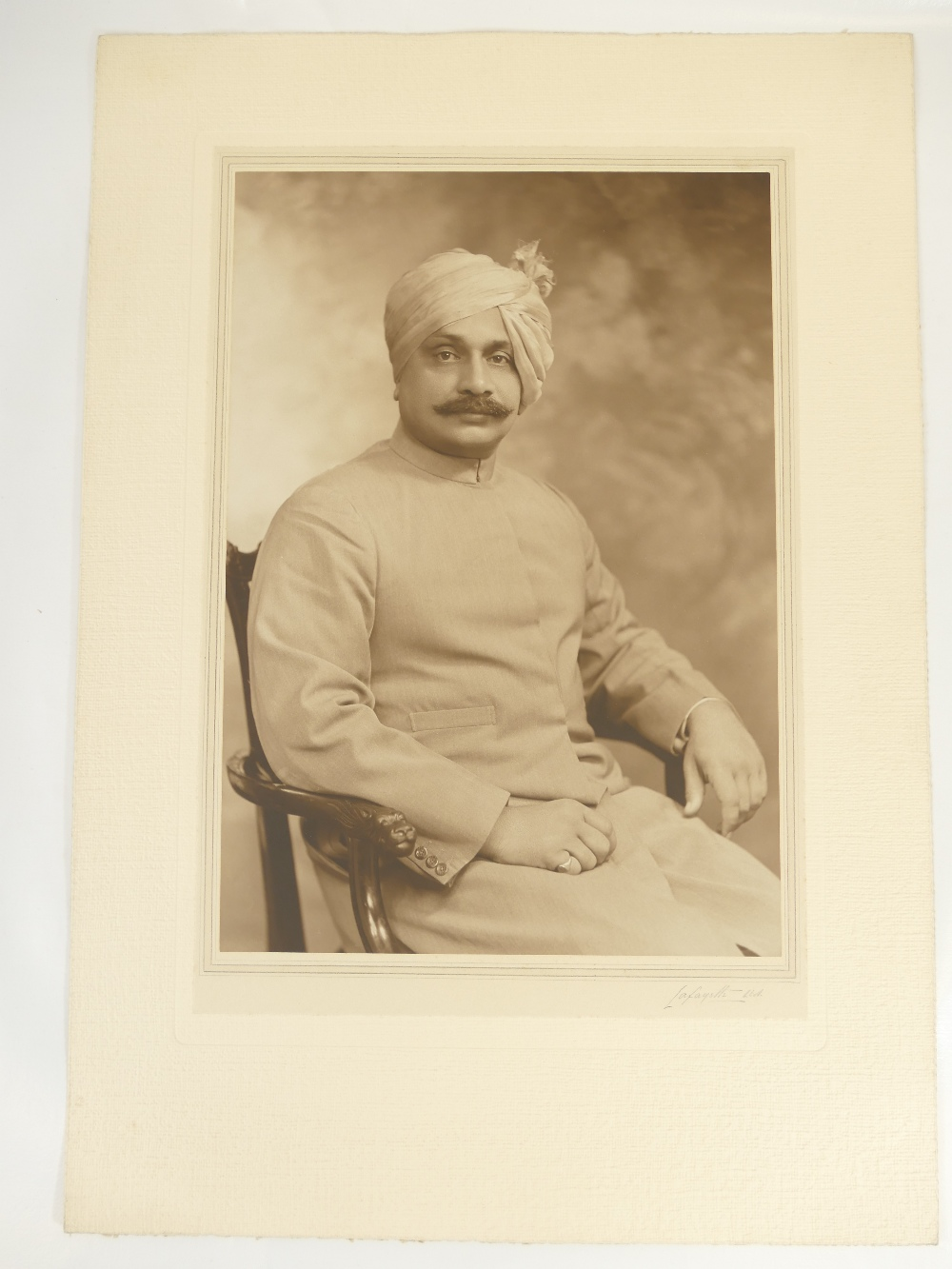Lot 8 - Rajah of Parklakinede India - Lafayette large studio portrait bearing full title and description,