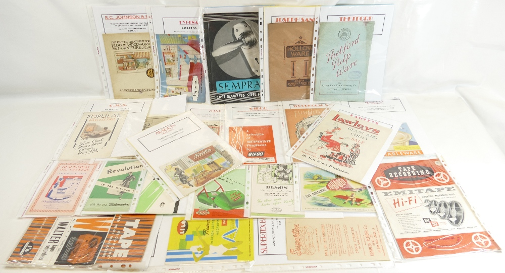 Lot 59 - HOUSEHOLD LEAFLETS AND CATALOGUES x 22 - mainly 1940's and 50's.