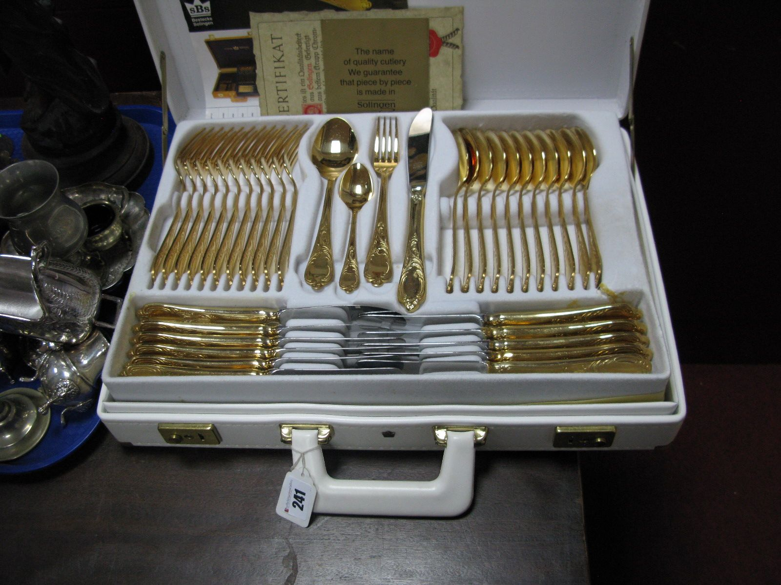 SBS Rostfrei Solingen Germany Gold Plated Cutlery Set, of ...